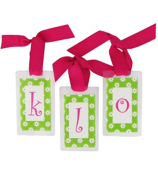 Lime Daisy with Hot Pink Initial Personalization Tag #801 Choose Your Initial