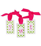 Lime Dots with Hot Pink Initial Personalization Tag #801 Choose Your Initial