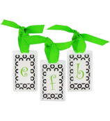Black Retro Dots with Lime Initial Personalization Tag #801 Choose Your Initial
