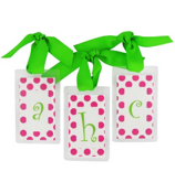 Hot Pink Dots with Lime Initial Personalization Tag #801 Choose Your Initial