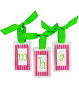 Hot Pink Stripes with Lime Initial Personalization Tag #801 Choose Your Initial