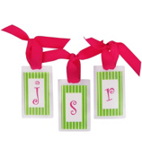 Lime Stripes with Hot Pink Initial Personalization Tag #801 Choose Your Initial
