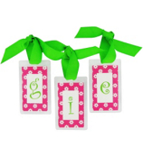 Hot Pink Daisy with Lime Initial Personalization Tag #801 Choose Your Initial