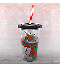 Snowman Face with Chevron Scarf 18oz Double Wall Tumbler with Straw #80390-CHEVRON