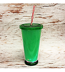 Light It Up Green LED 18 oz. Double Wall Tumbler with Straw #80404-GREEN