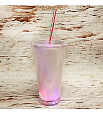 Light It Up Clear LED 18 oz. Double Wall Tumbler with Straw #80404-CLEAR