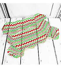 Red and Green Chevron Large Ruffle Top Bowl #80490