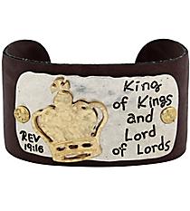 Revelation 19:16 Leather Cuff Bracelet #8064B-CROWN