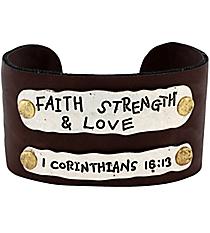 1 Corinthians 16:13 Leather Cuff Bracelet #8065B-FSL