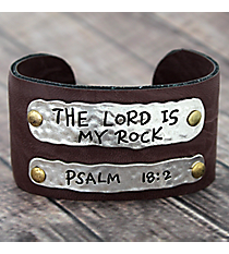 Psalm 18:2 Leather Cuff Bracelet #8065B-ROCK
