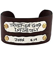 John 4:19 Leather Cuff Bracelet #8065B-TRUST