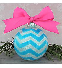 Blue Glitter Chevron Glass Keepsake Ornament with Pink Bow #80680-BL/PI