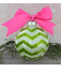 Green Glitter Chevron Glass Keepsake Ornament with Pink Bow #80680-GR/PI