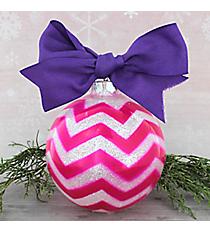 Pink Glitter Chevron Glass Keepsake Ornament with Purple Bow #80680-PI/PU