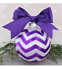 Purple Glitter Chevron Glass Keepsake Ornament with Purple Bow #80680-PU/PU