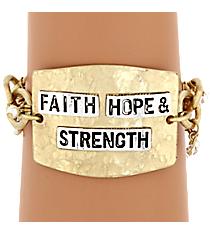 Faith, Hope, & Strength Goldtone Bracelet #8070B-FHS