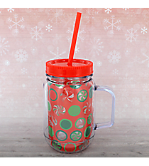 16oz Peppermint Dots Double Wall Mason Jar Tumbler with Straw #80787-DOTS