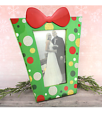 """Green with Glitter Dots 4"""" x 6"""" Christmas Present Picture Frame #80850-GREEN"""