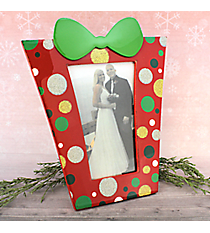 """Red with Glitter Dots 4"""" x 6"""" Christmas Present Picture Frame #80850-RED"""