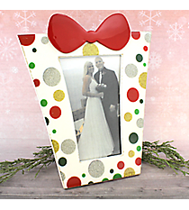 """White with Glitter Dots 4"""" x 6"""" Christmas Present Picture Frame #80850-WHITE"""