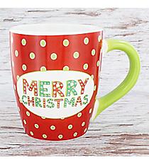 Red with Green Dots 'Merry Christmas' 24 oz. Jumbo Coffee Mug #80873