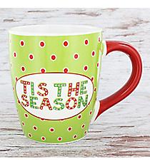 Green with Red Dots 'Tis the Season' 24 oz. Jumbo Coffee Mug #80873