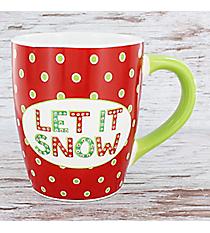 Red with Green Dots 'Let It Snow' 24 oz. Jumbo Coffee Mug #80873