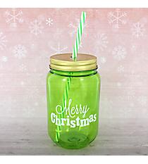 "24oz Green ""Merry Christmas"" Mason Jar with Straw #80936-GREEN"