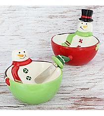 Snowman Dip Bowl & Spreader Set #80967 *Choose Your Color