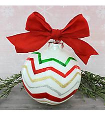 Glitter Christmas Chevron Glass Keepsake Ornament #80987-CHEVRON