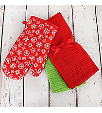 Red with White Snowflakes Oven Mitt and Kitchen Towel Set #81031-RED/WHT