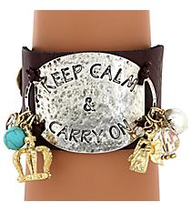 Keep Calm Leather Cuff Bracelet #8119B-CALM