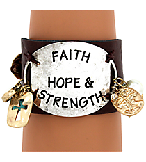 Faith Hope & Strength Leather Cuff Bracelet #8119B-FHS