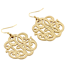 Goldtone Faux Monogram Pendant Earrings #8121E-GD