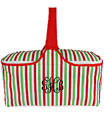 Green and Red Stripes Insulated Basket with Lid #81368