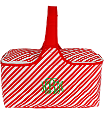 Red and White Stripes Insulated Basket with Lid #81368