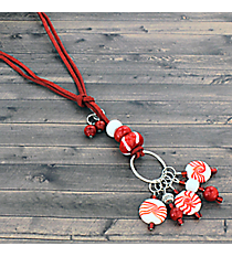 Peppermint Art Glass Dangle Necklace #81385-PEPPERMINT