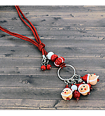 Santa Art Glass Dangle Necklace #81385-SANTA