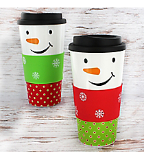 One Snowman Face 18 oz. Tumbler #81415-SHIPS ASSORTED