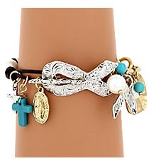 Two-Tone Ribbon Charm Toggle Bracelet #8148B-RIBBON