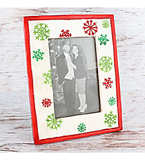 White with Red Trim and Two-Tone Glitter Snowflakes 4x6 Photo Frame #81718