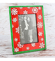 Red with Green Trim and White Glitter Snowflakes 4x6 Photo Frame #81718