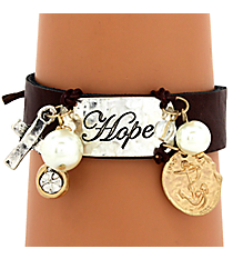 Hope Leather Cuff Bracelet #8118B-HOPE