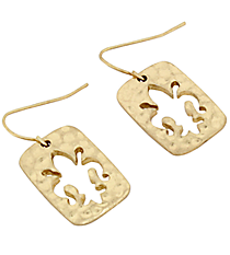 Goldtone Small Cut Out Fleur De Lis Earrings #8269E-GD-FLEUR