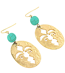 Worn Goldtone Cut-Out Fleur de Lis and Turquoise Bead Earrings #8273E-TQ