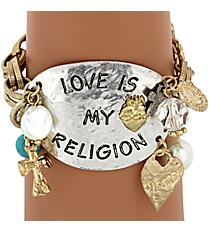 """Love is My Religion"" Toggle Bracelet #8290B-RELIGION"