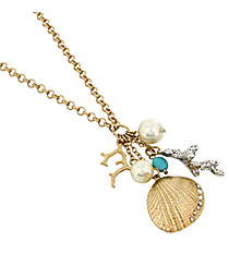 """30"""" Sand Dollar and Coral Necklace #8292N"""