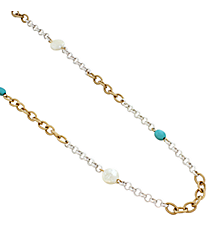 """31"""" Pearl and Turquoise Two-Tone Chain Necklace #8317N"""