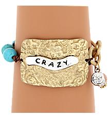 """Two-Tone """"Crazy"""" Charm Bracelet #8359B-CRAZY"""