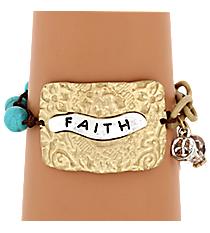 """Two-Tone """"Faith"""" Charm Bracelet #8359B-FAITH"""